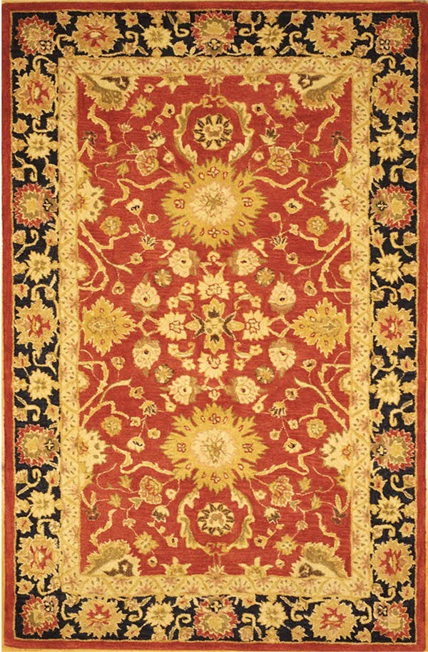 Red, Navy (A) Traditional / Oriental Area Rug