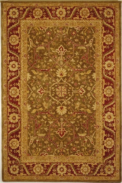 Green, Red (A) Traditional / Oriental Area Rug
