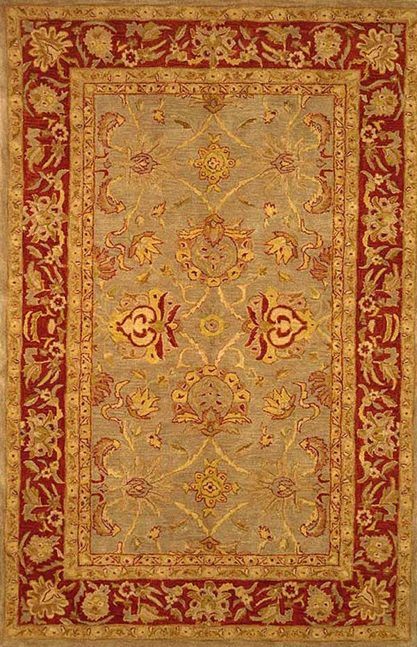 Grey, Red (A) Traditional / Oriental Area Rug