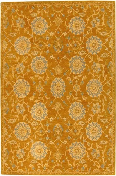 Gold, Blue (C) Traditional / Oriental Area Rug
