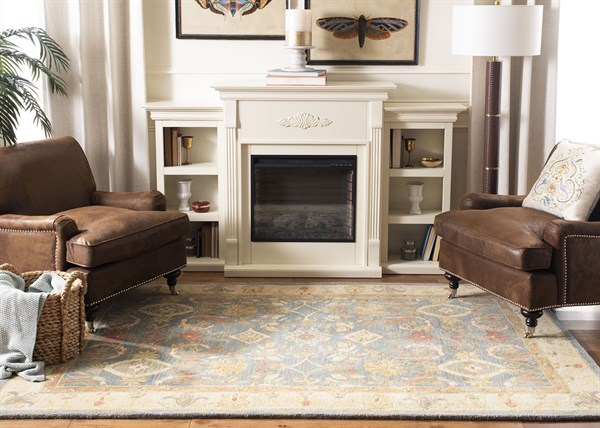 Light Blue, Ivory (D) Traditional / Oriental Area Rug