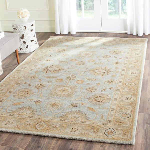 Light Blue, Sage (B) Traditional / Oriental Area Rug