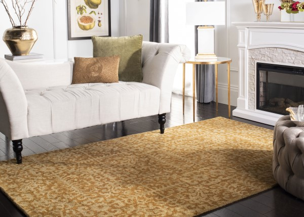 Gold, Beige (A) Contemporary / Modern Area Rug