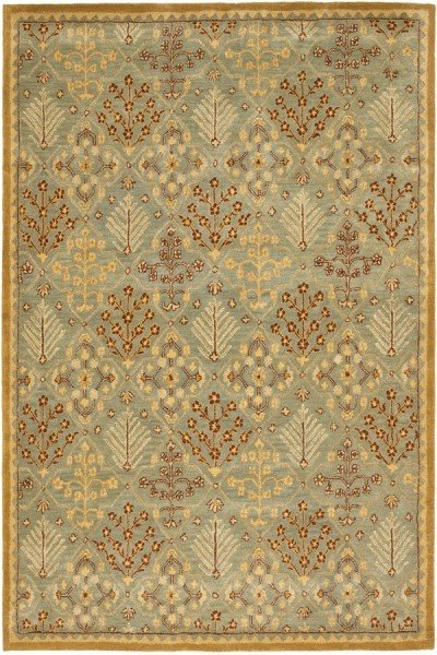 Light Blue, Gold (A) Traditional / Oriental Area Rug