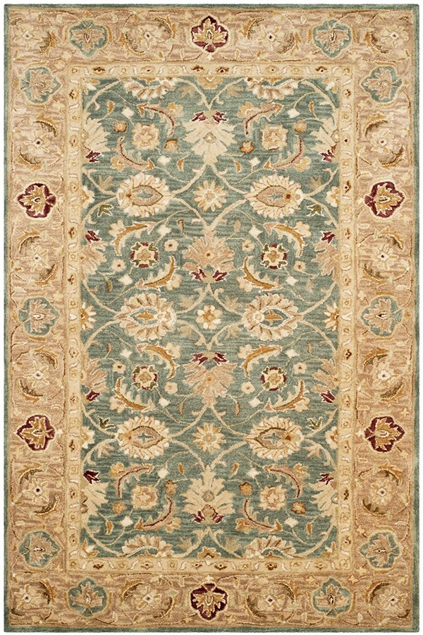 Teal Blue, Taupe (B) Traditional / Oriental Area Rug