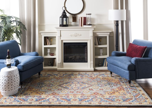 Blue, Gold (M) Transitional Area Rug