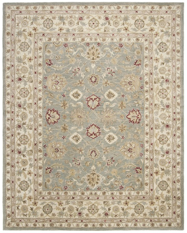 Grey Blue, Beige (A) Traditional / Oriental Area Rug