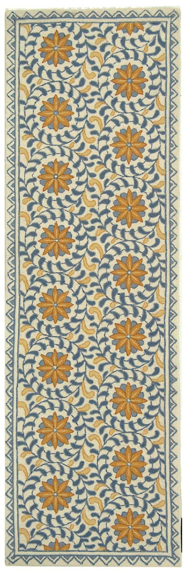 Ivory, Blue (A) Moroccan Area Rug