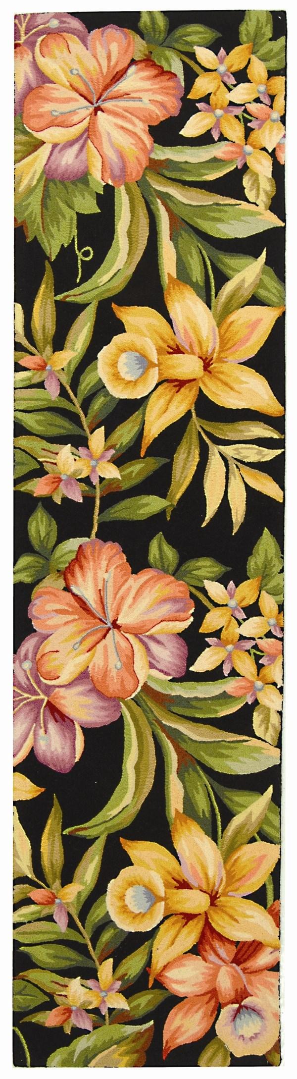 Black, Green (B) Floral / Botanical Area Rug