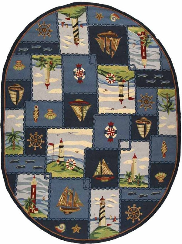 Blue, Beige (A) Beach / Nautical Area Rug