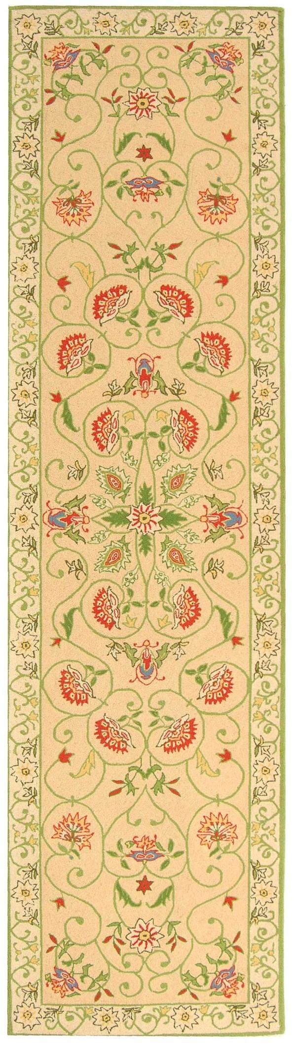 Beige, Green (A) Floral / Botanical Area Rug
