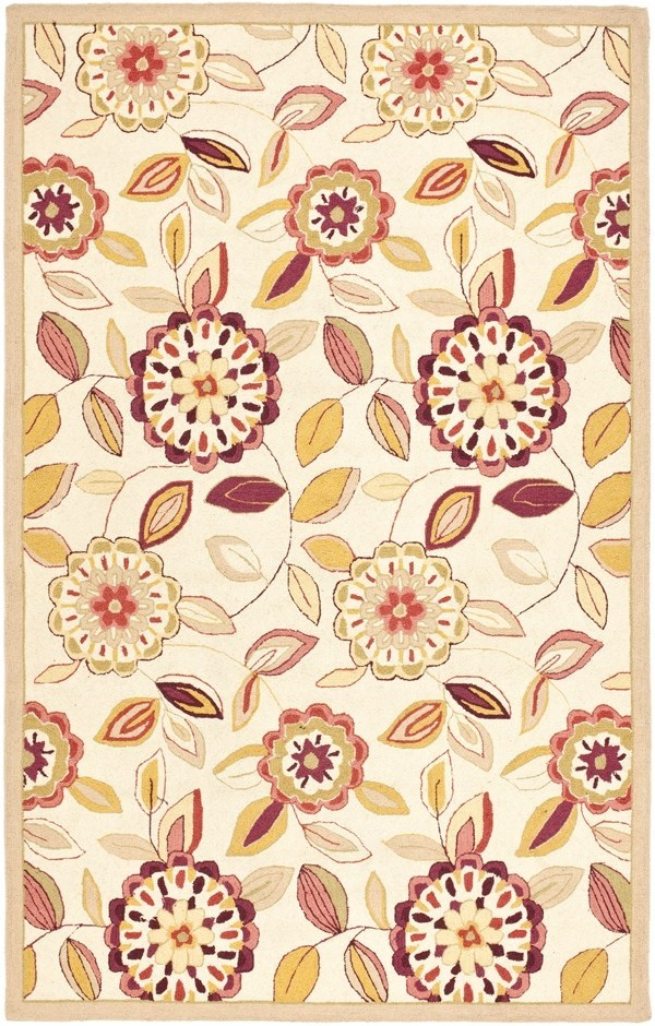 Ivory, Taupe (B) Floral / Botanical Area Rug