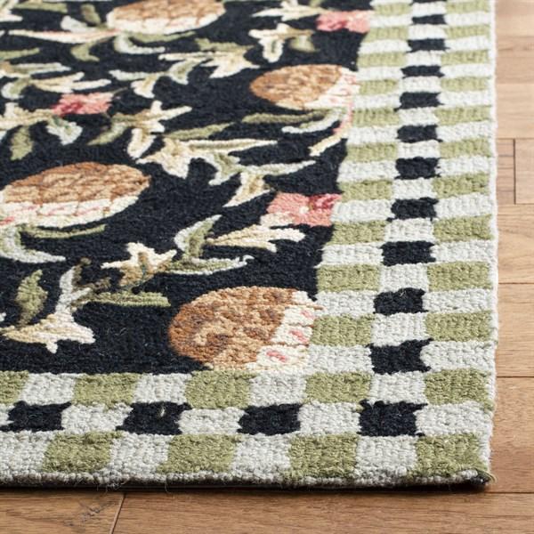 Black, Ivory (A) Floral / Botanical Area Rug