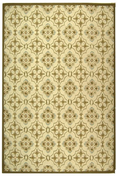 Ivory, Green (A) Transitional Area Rug
