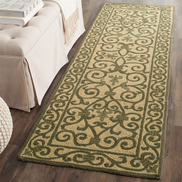 Yellow, Light Green (G) Transitional Area Rug