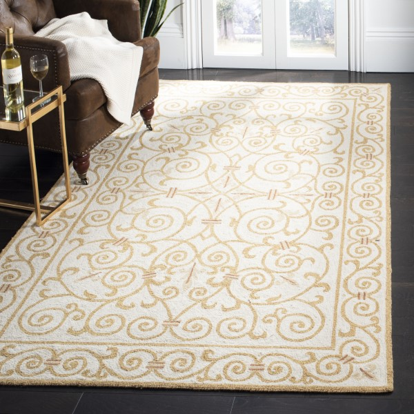 Ivory, Gold (P) Contemporary / Modern Area Rug