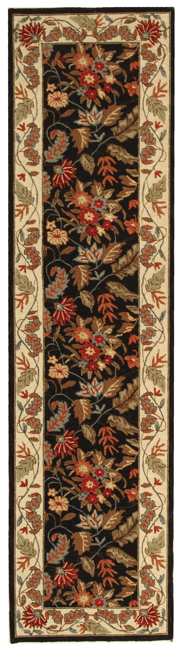 Black, Ivory (B) Traditional / Oriental Area Rug