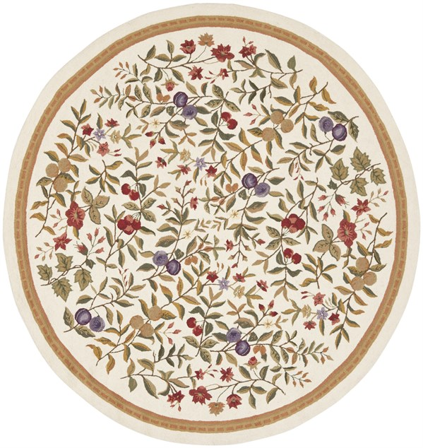 Ivory, Gold (A) Floral / Botanical Area Rug