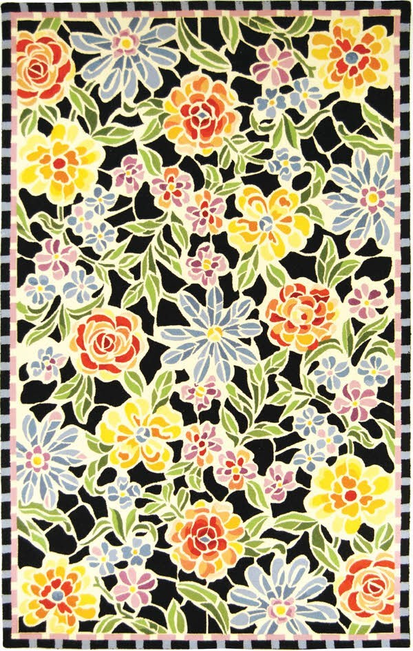 Black, Yellow (B) Floral / Botanical Area Rug