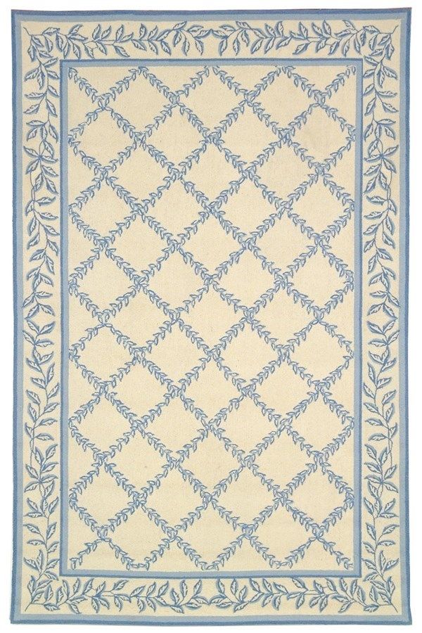 Ivory, Light Blue (A) Traditional / Oriental Area Rug