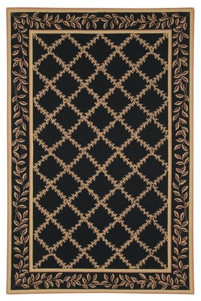 Black, Gold (D) Traditional / Oriental Area Rug