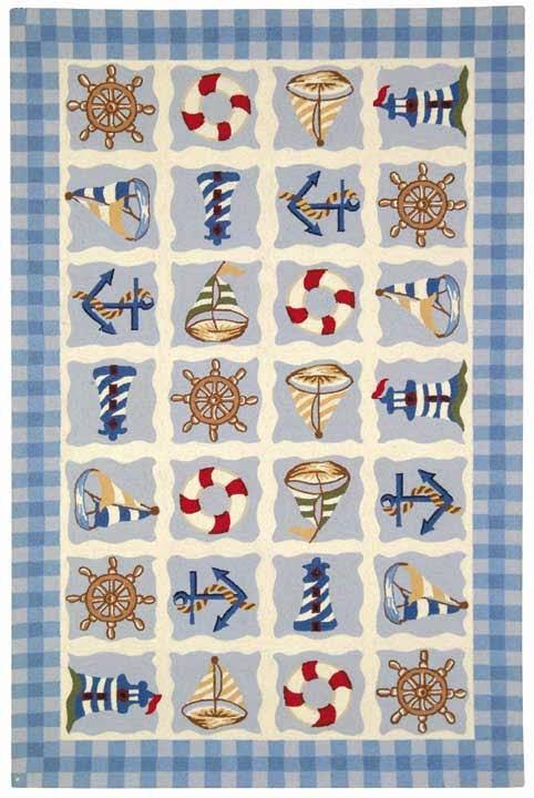 Ivory, Blue (A) Beach / Nautical Area Rug
