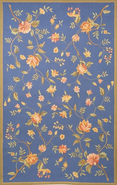 Light Blue, Tan (D) Floral / Botanical Area Rug