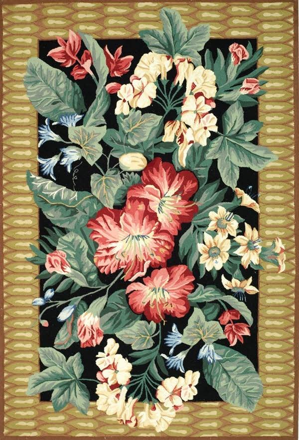 Black, Brown (A) Floral / Botanical Area Rug