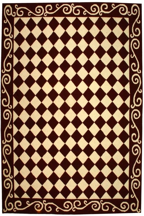 Burgundy, Ivory (C) Contemporary / Modern Area Rug