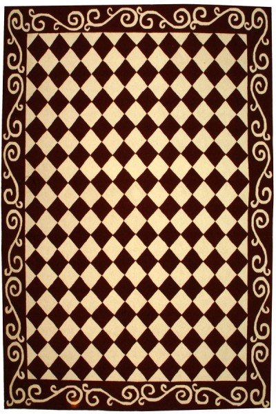Burgundy, Ivory (C) Contemporary / Modern Area Rug