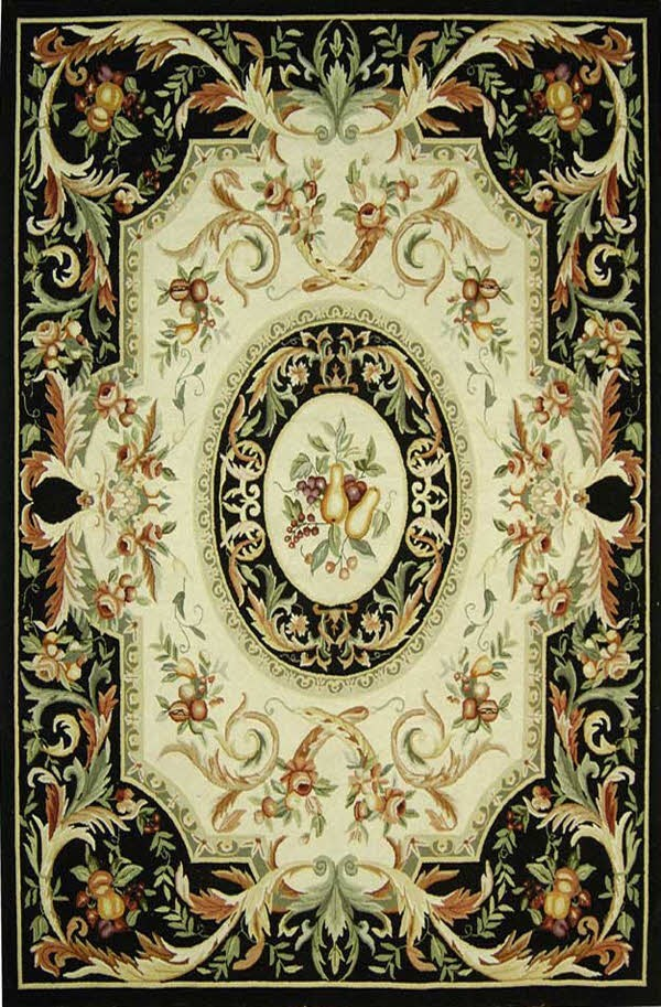 Black, Ivory (A) Country Area Rug