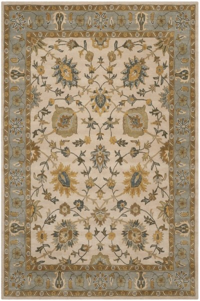 Ivory, Light Blue (B) Traditional / Oriental Area Rug