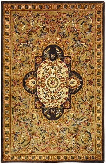 Beige, Olive (A) Traditional / Oriental Area Rug