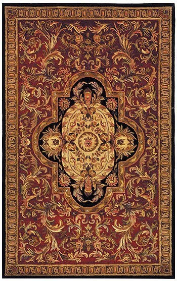 Red, Black (C) Traditional / Oriental Area Rug