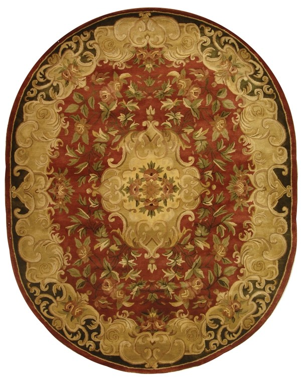 Rust, Green (A) Traditional / Oriental Area Rug