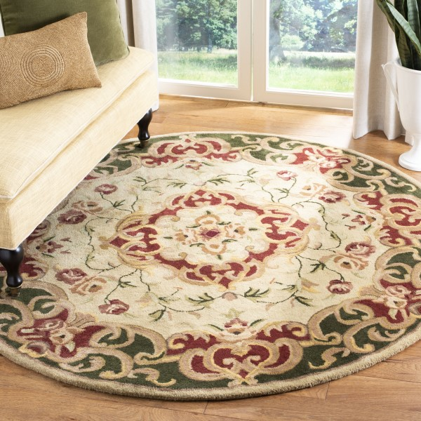 Ivory, Green (C) Traditional / Oriental Area Rug
