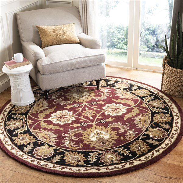 Burgundy, Black (B) Traditional / Oriental Area Rug