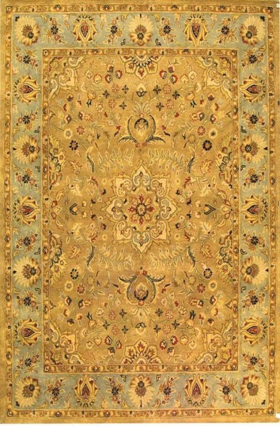 Beige, Light Blue (A) Traditional / Oriental Area Rug
