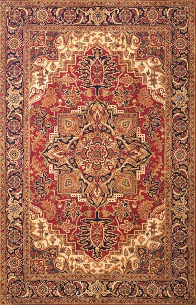 Red, Navy (B) Traditional / Oriental Area Rug