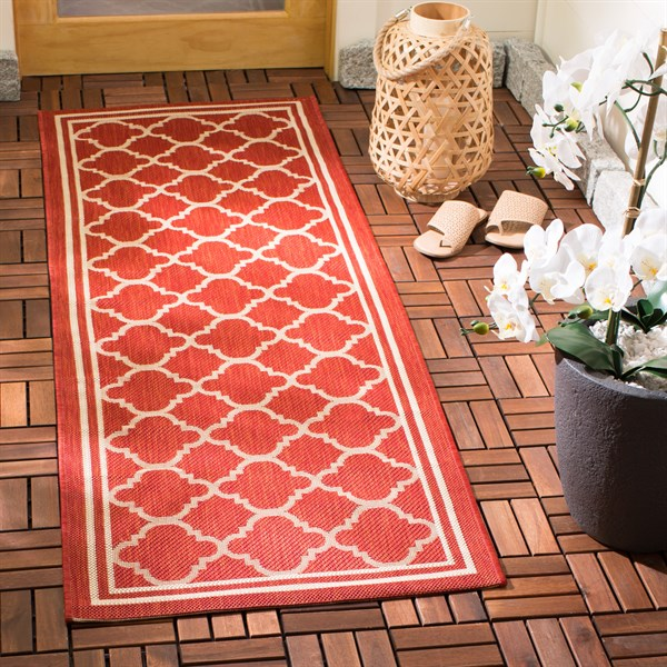 Red, Bone (248) Moroccan Area Rug