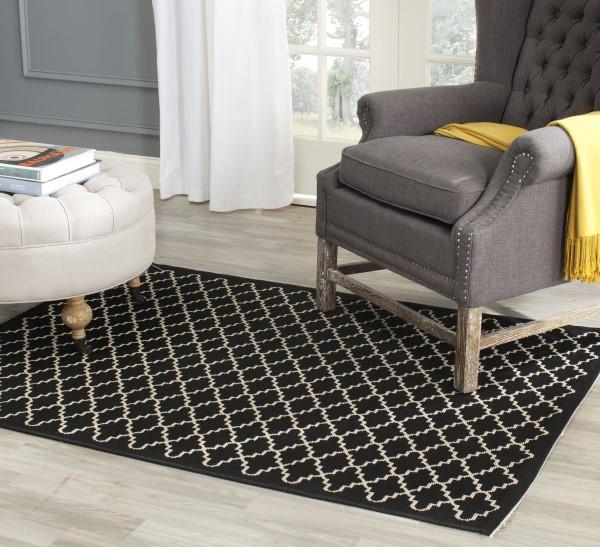 Black, Beige (226) Contemporary / Modern Area Rug