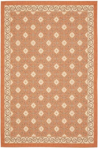 Terracotta, Cream (21A7) Outdoor / Indoor Area Rug