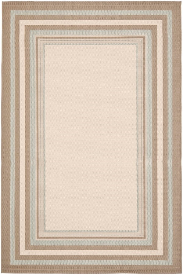 Beige, Blue (79A18) Bordered Area Rug