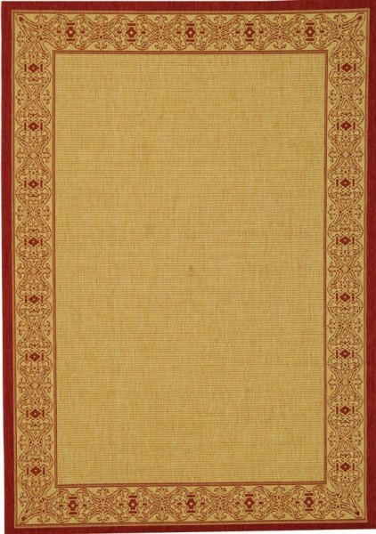 Beige, Red (3701) Contemporary / Modern Area Rug