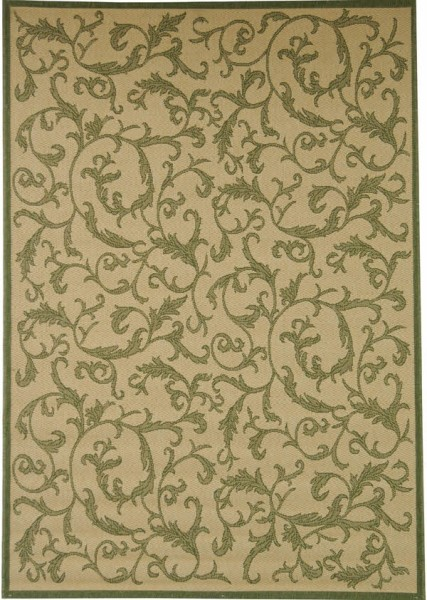 Natural, Olive (1E01) Floral / Botanical Area Rug