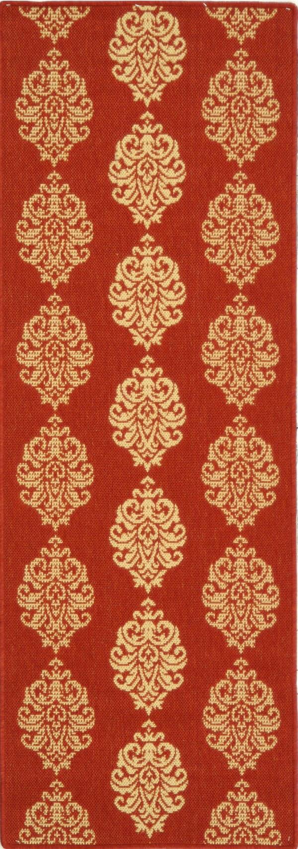 Red, Natural (3707) Damask Area Rug