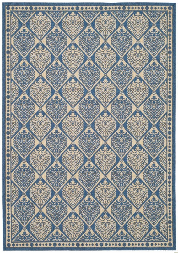 Blue, Ivory (C) Moroccan Area Rug
