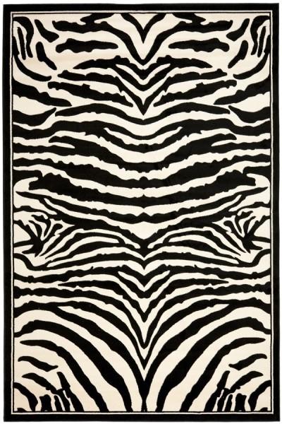 White, Black (A) Contemporary / Modern Area Rug