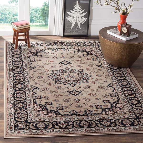 Cream, Anthracite (K) Traditional / Oriental Area Rug