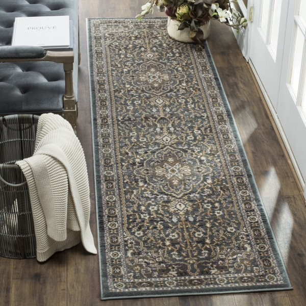 Teal, Grey (A) Traditional / Oriental Area Rug